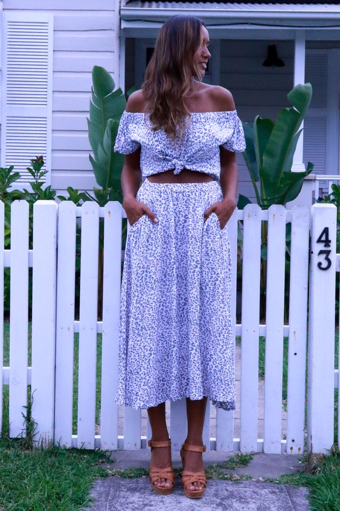 Image of Audrey Circle Skirt - Snow Leopard