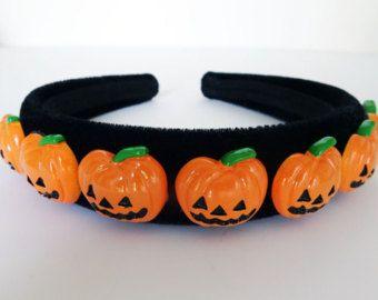 Carino zucca Halloween cerchietto capelli banda Alice Band Black Flock velluto 2.5 cms