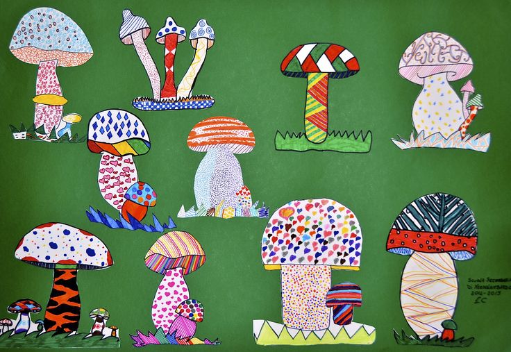 fanciful mushrooms with textures