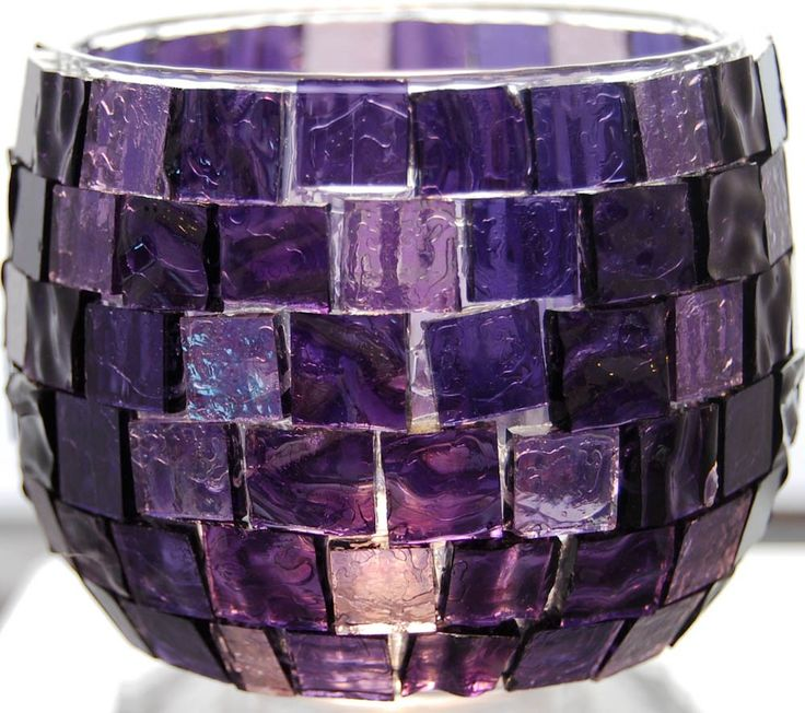 Luscious Purple Mosaic Candle Holder by lunarising on Etsy. $15.00, via Etsy.
