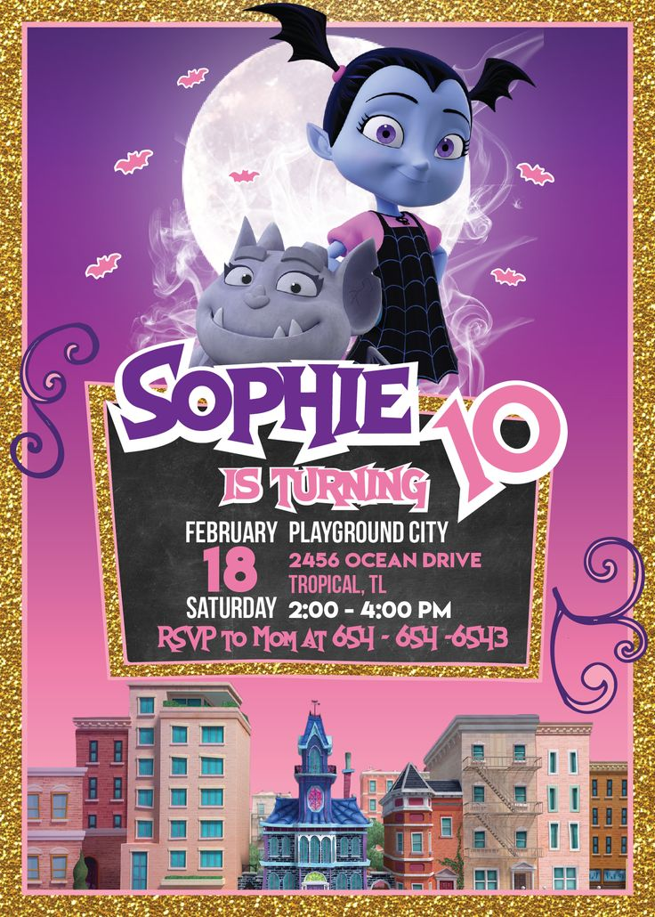 Vampirina Birthday Party | Vampirina Invitation Printable | Vampirina Party Supplies | Vampirina Party Ideas for Kids - get it here: www.bdayprints.com