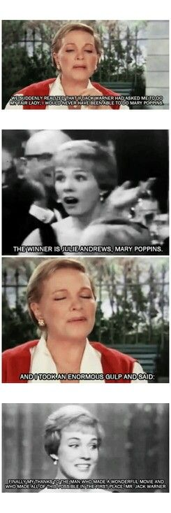 Julie Andrews played the original Eliza Doolittle in My Fair Lady on Broadway. When Jack Warner was making the film adaptation, Julie was passed over for the role in favor of Audrey Hepburn, which made her available to accept Walt Disney's invitation to be Mary Poppins. Ironically, Julie Andrews and Audrey Hepburn squared off at the 22nd Annual Golden Globe Awards for Best Actress for their performances in Mary Poppins and My Fair Lady, respectively. Julie had the last laugh :)
