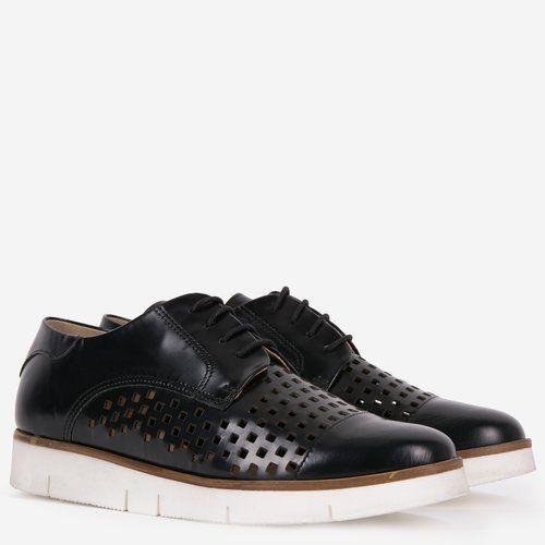 Pantofi Oxford din piele naturala negri Joely
