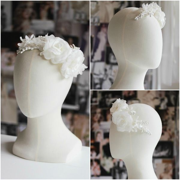 Ivory silk flower headpiece for Stephanie_Eden