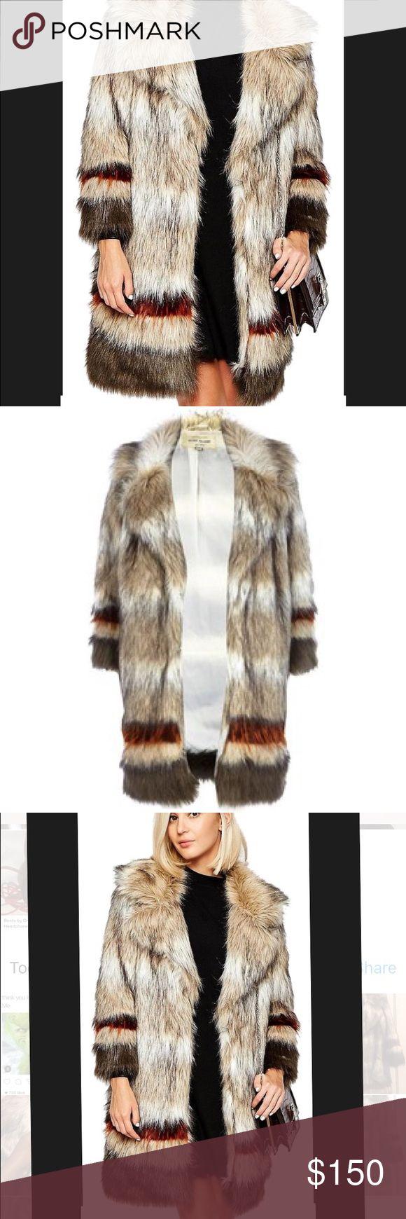 Beige Stripe by River Island Fur Coats Type:Coats Color:Multicolor Size:8 (M) Brand:River Island Style/Collection:River Island Stripe Faux Fur Coat Style Tags:River Island Coats River Island Jackets & Coats Blazers