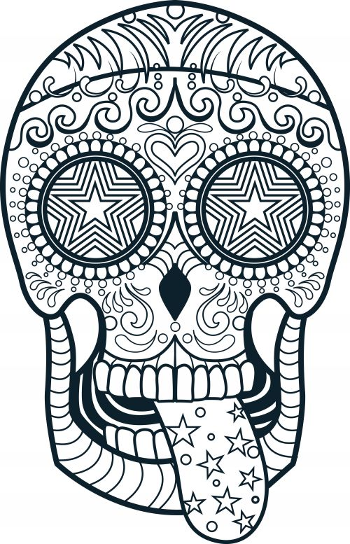 Sugar Skull Coloring Page 3 Coloring Coloring books and