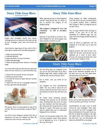 "All-purpose inside page template with 3 columns. Try this 11""x14"" newsletter template now using our Free Cloud Designer: www.makemynewspaper.com/free-newsletter-templates"