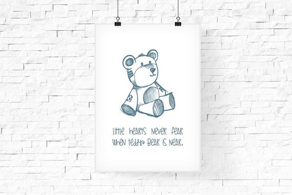 Teddy Bear Printable Wall Art 8x10  Instant Download  by FPD3sign