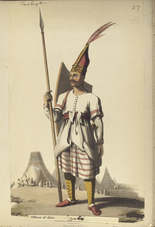 Officer of Albanian Infantry. The Vinkhuijzen collection of military uniforms / Turkey, 1818. See McLean's Turkish Army of 1810-1817.
