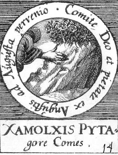 ALQUIMIA VERDADERA: Emblema 14. Zalmoxis, compañero de Pitágoras Acompañado por Dios y la piedad, llegó desde los grandes apuros hasta la gloria.