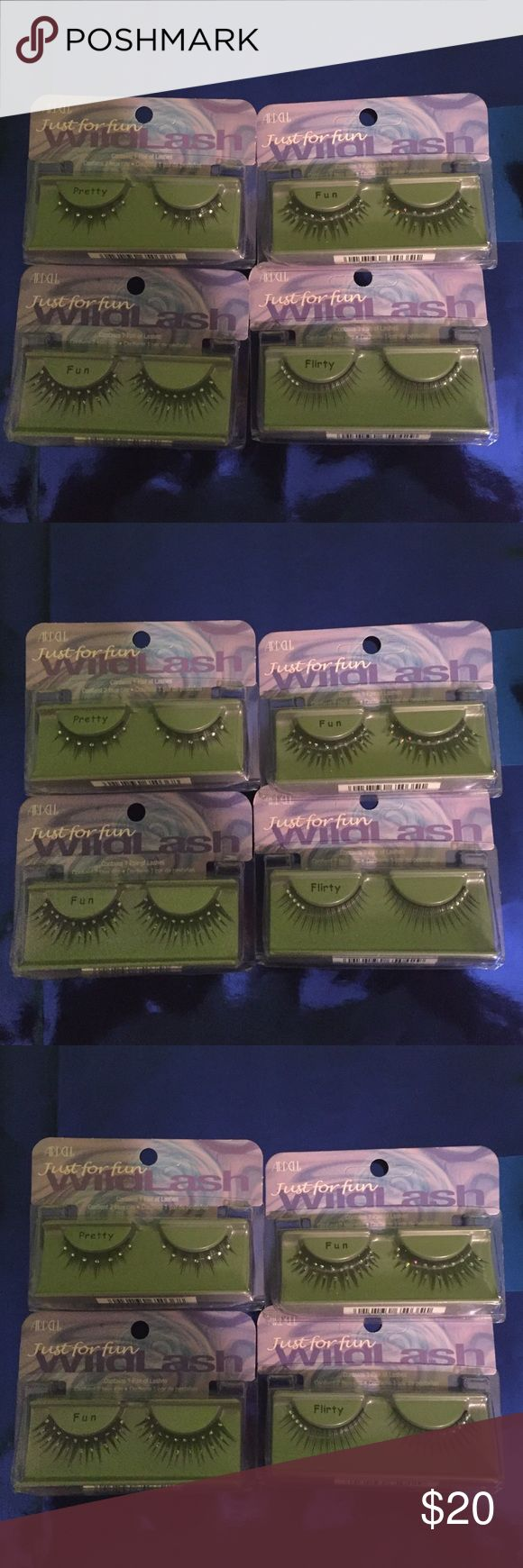 PARTY PARTY PARTY!! Adell Just for fun lashes lot 2 Fun, 1 Pretty and 1 Flirty lashes with sparkling stones on the lashes. Great for parties or fun event. Ardell Makeup False Eyelashes