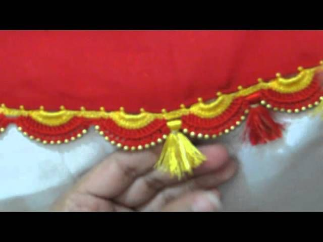 In the feature image you can see the beautiful move or purple color tassels with white pearls beads with it in stitching looks a beautiful view.