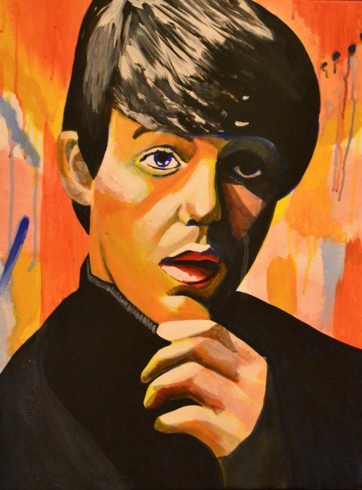 """Paul McCartney"" acrylic on canvas © 2012 by, artist Heather Froman;  www.heatherfroman.com; www.facebook.com/HeatherFromanArt"