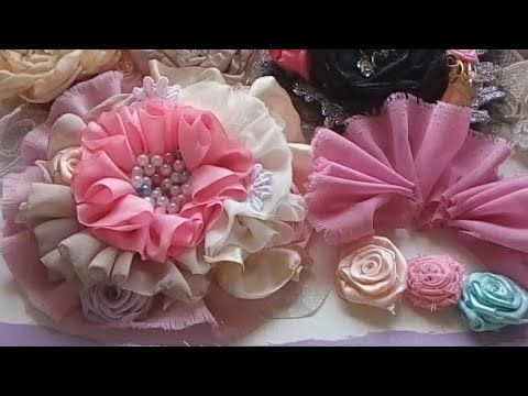 Diadema con flores de liston plata VIDEO No. 561 creaciones rosa isela - YouTube