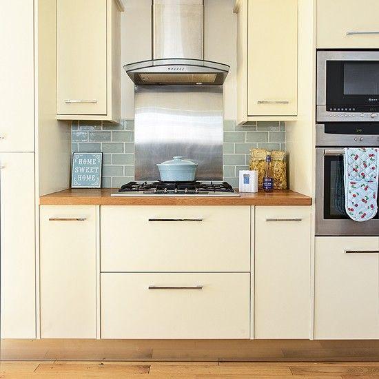 Modern cream kitchen with duck egg metro tiles | housetohome.co.uk