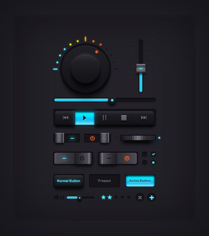 Free #PSD: Music UI Elements by Rafi