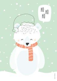 Kerstposter met ijsbeertje 'ho ho ho' - tante kaartje - www.tante-kaartje.nl