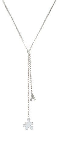 Puzzle Piece - Crystal Initial Y Shaped Necklace