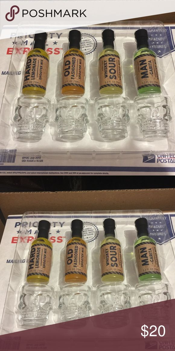 TWO Skull Shot Glass Sets TWO complete skull shooter sets. Each set includes FOUR clear skull shot glasses and 4 bottles of shooter mix. Brand New! (I ship within 24 hours!!) Other
