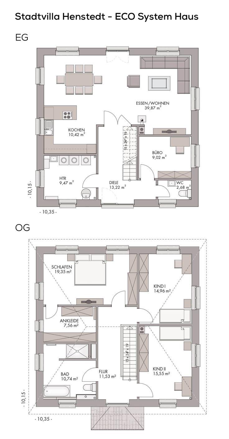 Grundriss Stadtvilla modern mit Klinker Fassade & Walmdach