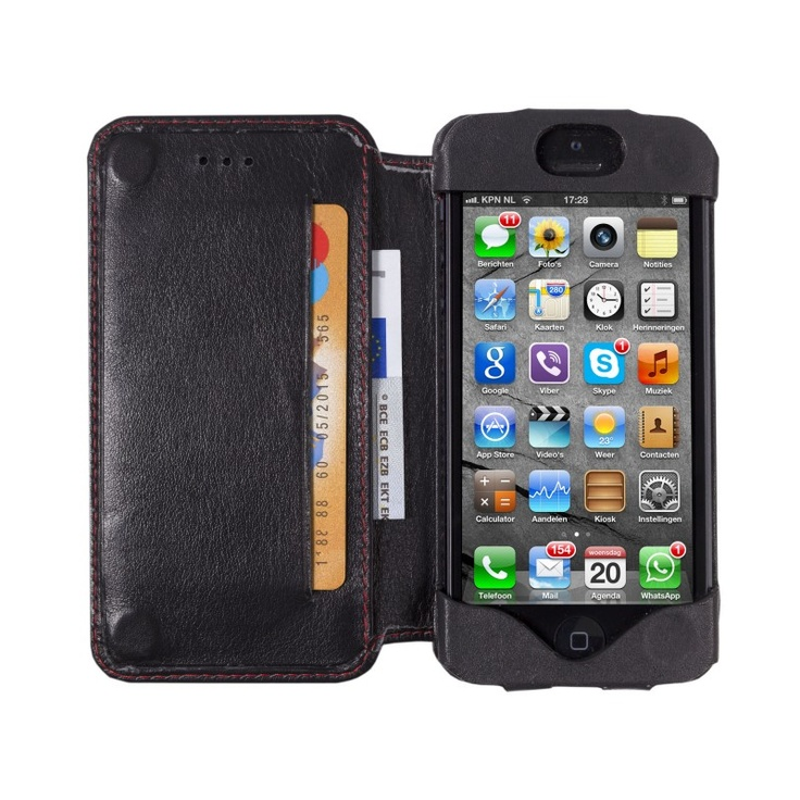 Smooth black, 'open' leather wallet for iPhone 5 by dbramante1928. Price: $50. More information: www.dbramante1928.com.