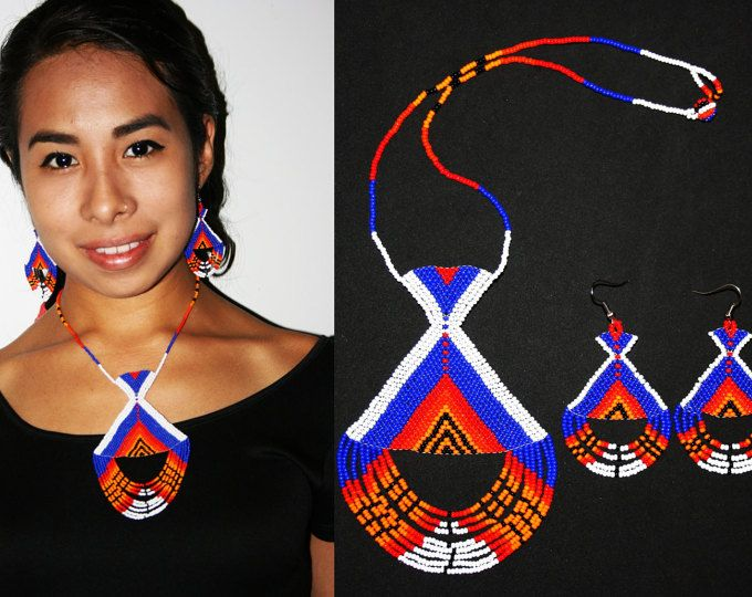 Inca joyas joyería Azteca, moda Tribal, Huichol Beadwork, nativo americano de cuentas joyería, Inca collar y pendientes conjunto