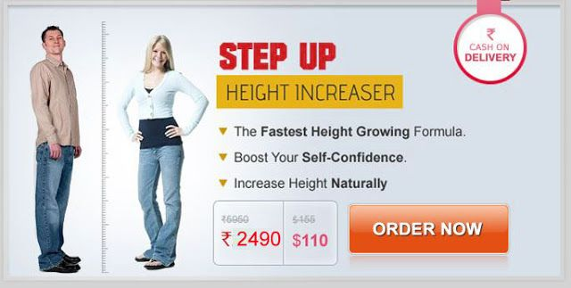 Step Up Height Increaser StepUp Height Increaser - 100% Herbal. Step Up Height growth formula is a revolutionary Step by Step Total Growth System, that provides required nutrients to the body for height & body growth. Step Up helps Re-gain your Lost Confidence, enhances Personality and gives your body a good shape. Increases Bone Mass & Density, thereby giving strength to Bones and muscles.