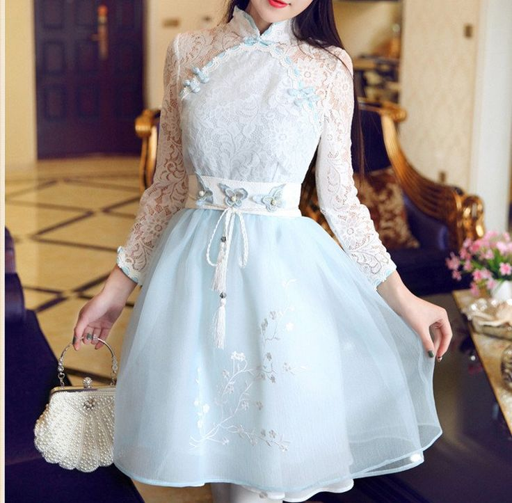 Pastel Blue Retro Chinese Style Lace Corseted Bubble Dress SP179075