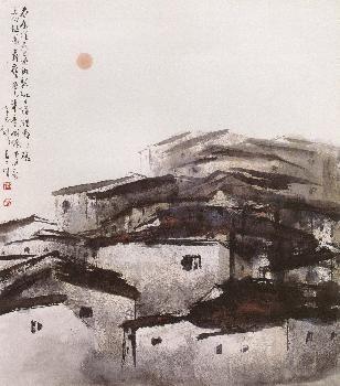 蔡友 夢迴故園情 2001 70x78cm 水墨設色紙本