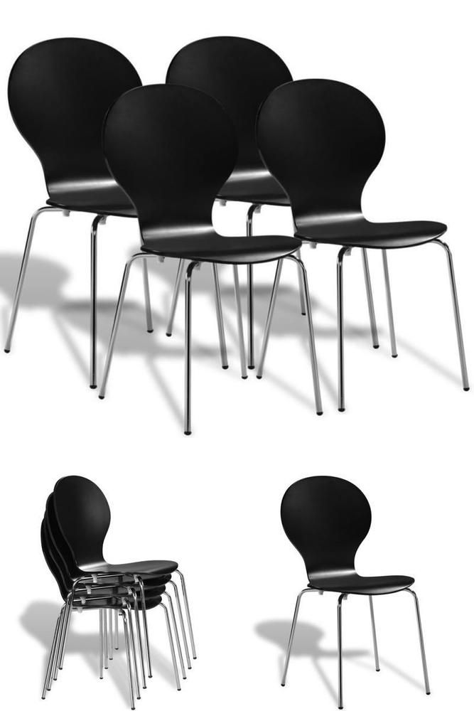 Bar Restaurant Chairs Set 4 Black Wooden Metal Home School Dining Stacking Seats