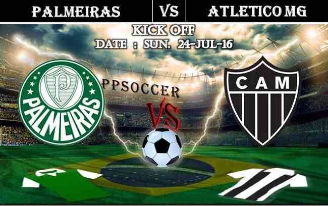 Palmeiras vs Atletico MG 24.07.2016 Free Soccer Predictions, head to head, preview, predictions score, predictions under/over Brazil: SERIE A