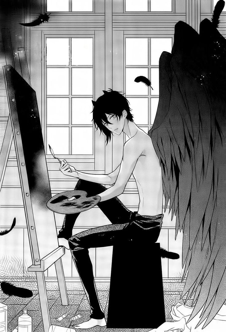 Lucifer: what?...painting relieves stress...yes i have to do it without shirt...for reasons '^'