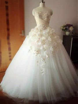 Strapless Appliques Beading Flowers Ball Gown Wedding Dress & unusual Wedding Dresses