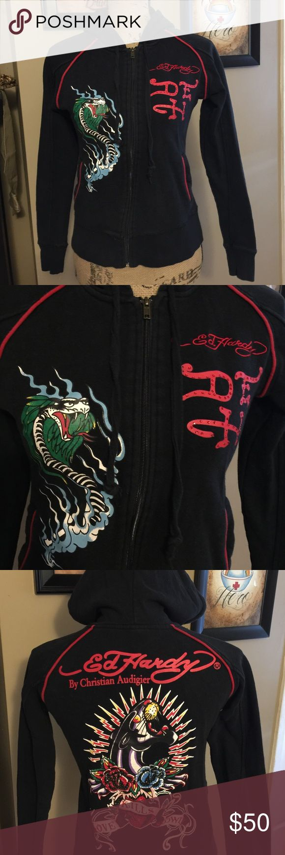 Vintage Ed Hardy Zip-Up by Christian Audigier Authentic Ed Hardy full zip black hoodie with red piping around the shoulders and lining the 2 front pockets. Great used condition. No flaws except a tiny bit faded. Still plenty of wear left and it is gorgeous! Very traditional style with a dragon on the right side on the front and Ed Hardys signature stitched in red with his initials below with just the right amount of red Bling! Panther on the back with rhinestoned roses. Love kills slowly is…