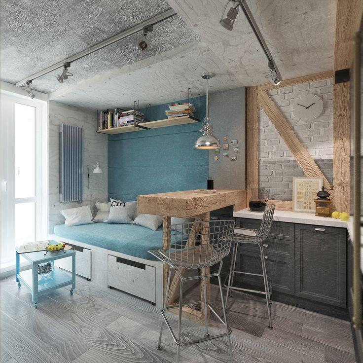 Фотография: Гостиная в стиле Лофт, Квартира, Дома и квартиры, IKEA, Проект недели, Cosmorelax, квартира в стиле лофт – фото на InMyRoom.ru