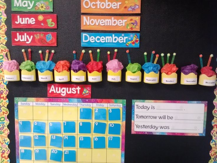 Use popsicle sticks, tissue paper, and bulletin board borders to make birthday cupcakes.