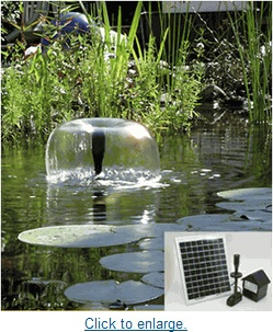 Our 10 Watt Solar Powered Water Feature Pump is designed for fountains,  ponds or other outdoor use, and has the ability to also give you a d.
