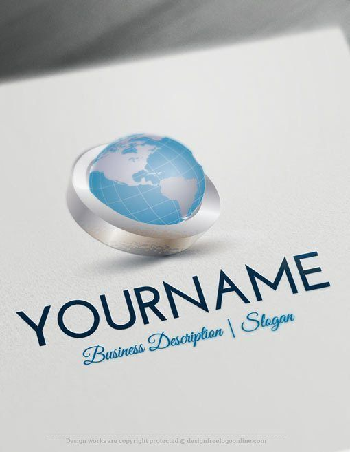 Design Free 3D Globe Online Logo Templates Ready made Online 3D Logo Template Decorated with an image of globe Earth In a three-dimensional hoop. This professional 3D logos excellent for consulting, Global International company, High Tech, Travel agency, cargo, airline company,Natural products, eco-friendly, management etc, . How to design free logo online? 1- Customize This logo with our free logo maker tool