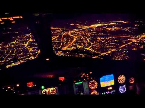 Night Landing in Wroclaw - cockpit view - SAAB 340