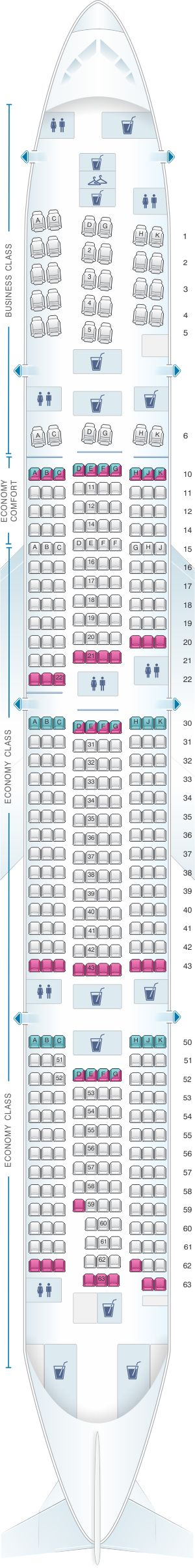 Seat Map KLM Boeing B777 300ER New World Business Class