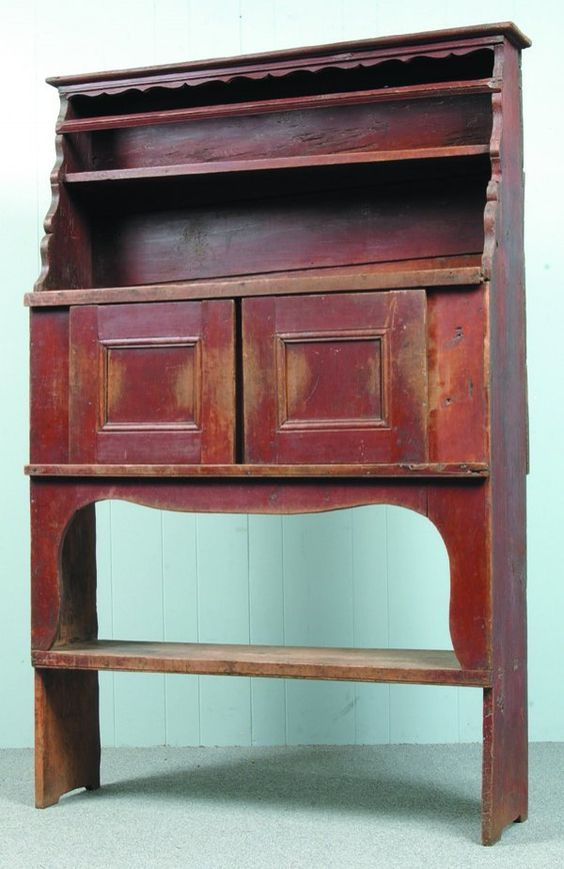 New York State 18th Century Court Cupboard, Original Red Paint, Graduated  Open Top With