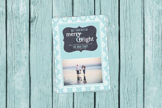 photo Christmas card, beach Christmas card, digital file or professionally printed