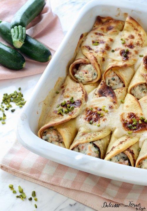Cannelloni di crepes con ricotta, salmone e zucchine ricetta Dulcisss in forno by Leyla