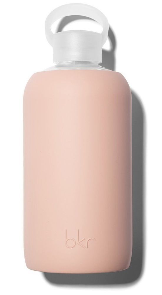 BKR Glass Silicone Water Bottle Reusable 16 oz in Naked Light Beige Pink Color #BKR