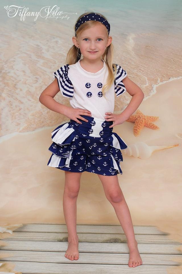 Girls Sailor Ruffle Shorts PDF Sewing Pattern
