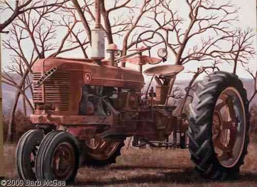 """This looks like a Farmall to me.  My daddy had an """"A"""" Farmall and a """"B"""" Farmall tractor/s when I was growing up and I rode many miles along side my daddy on a tractor just like this one!  What I wouldn't give for just """"one more ride."""""""