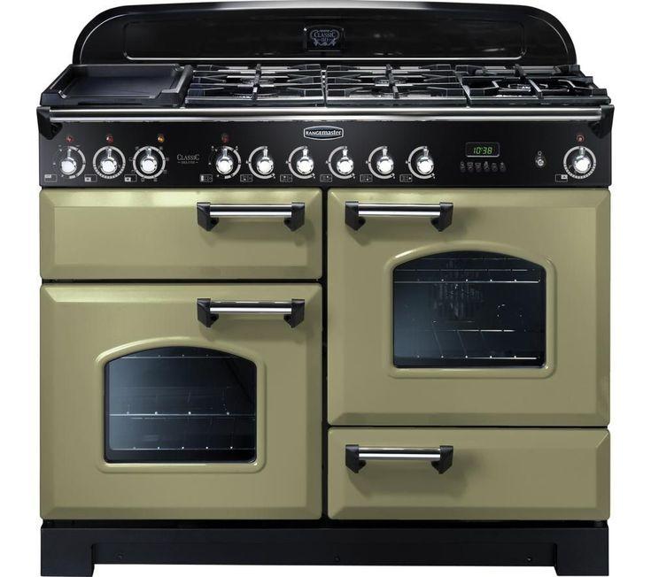 RANGEMASTER Classic Deluxe 110 Dual Fuel Range Cooker - Olive Green & Chrome