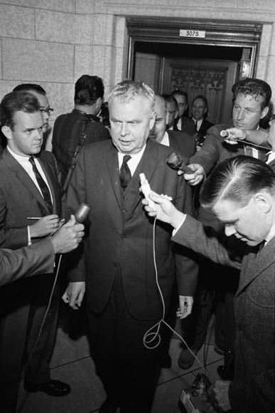 John Diefenbaker at a meeting of party leaders regarding the flag debate, Ottawa, Ontario, August 18, 1964.