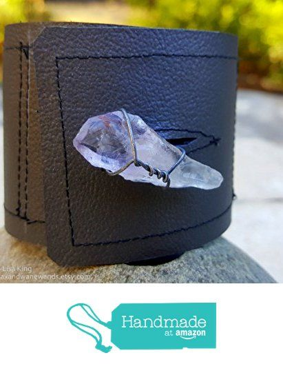 Quartz Wrapped Crystal Gray Leather Cuff from Wax & Wane Wands: A Cabinet of Curiosities https://www.amazon.com/dp/B074CNXC4Y/ref=hnd_sw_r_pi_dp_g46EzbW659TV0 #handmadeatamazon