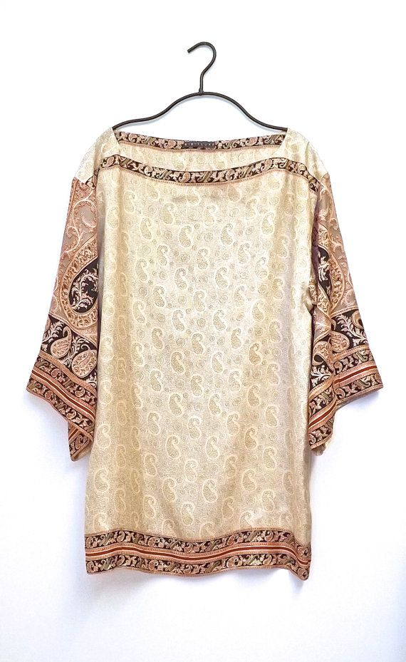 Pure silk kimono sleeve tunic / kaftan cream on Etsy, £75.00